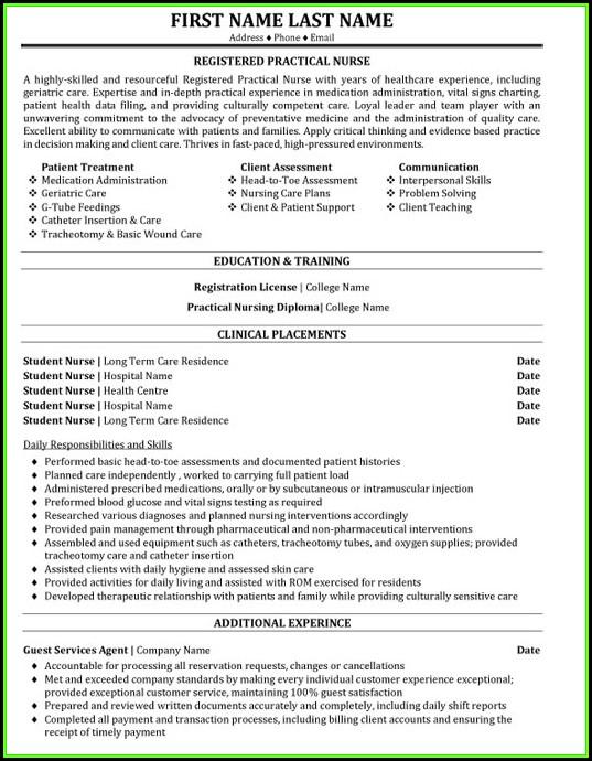 Registered Practical Nurse Resume Template