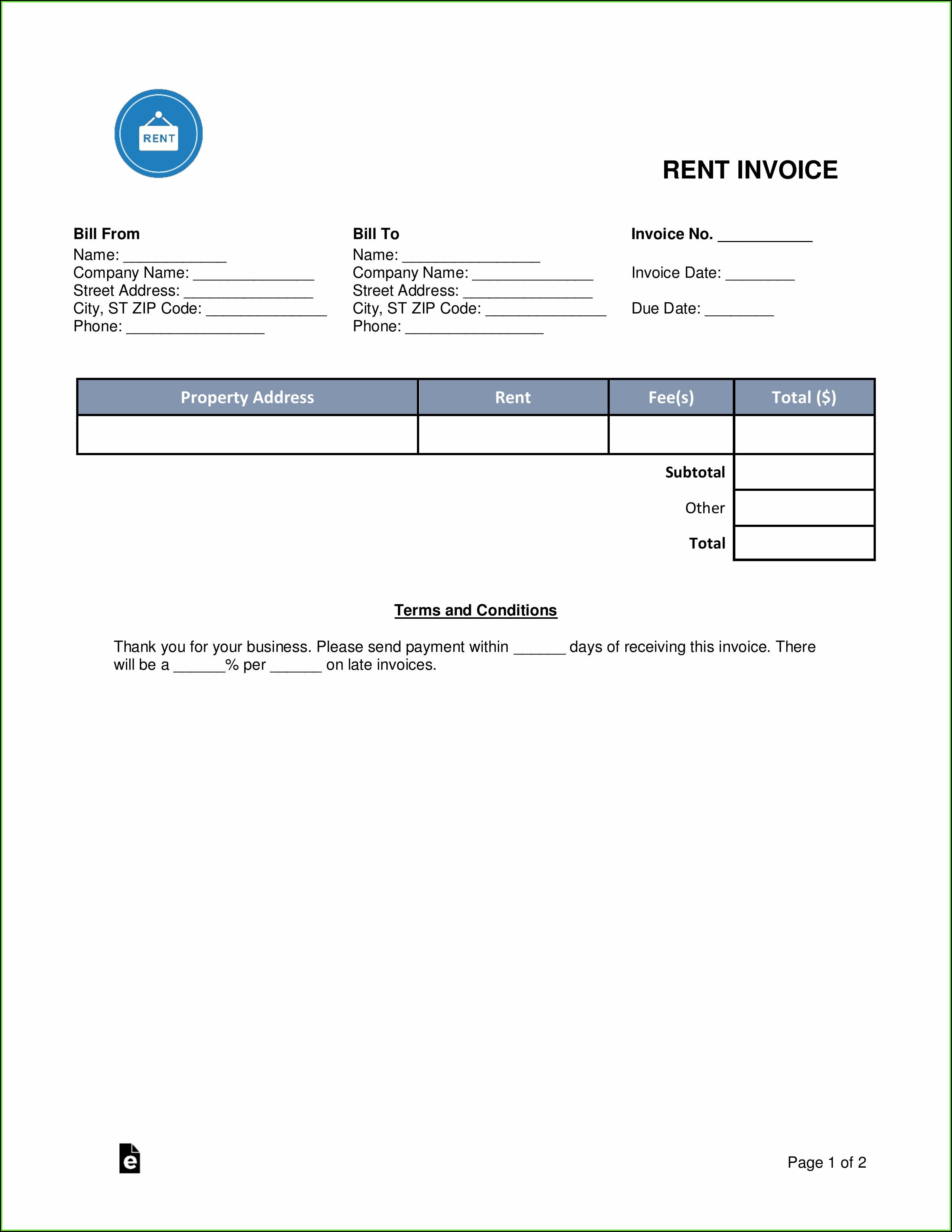 Rental Invoice Template Pdf