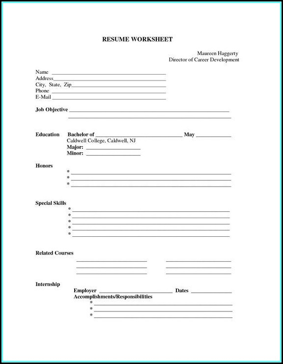 Resume Blank Forms