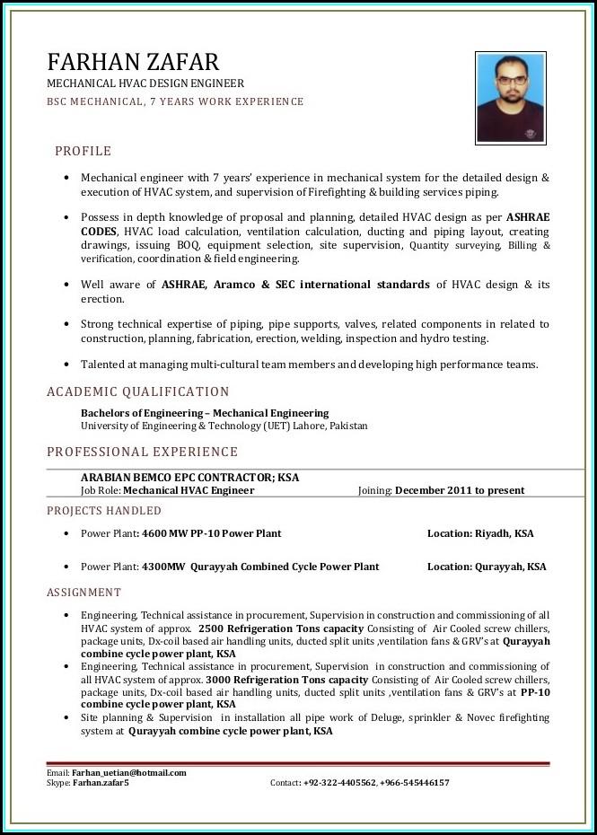Resume For Hvac Engineer Fresher
