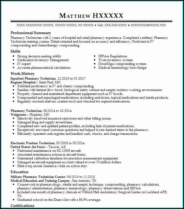 Resume For Pharmacy Technician In Hospital