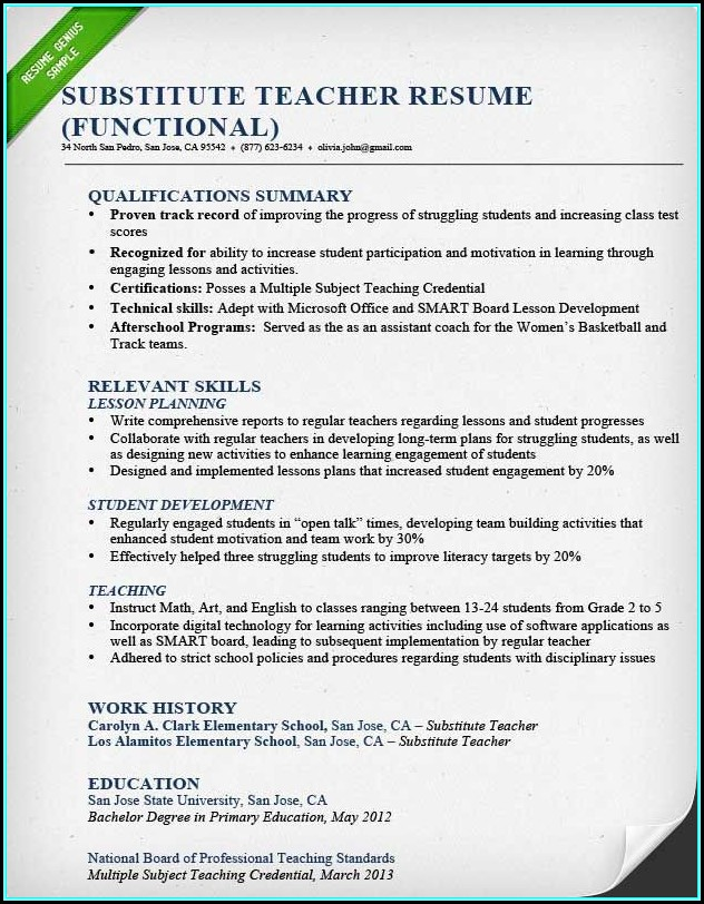 Resume For Teachers Template