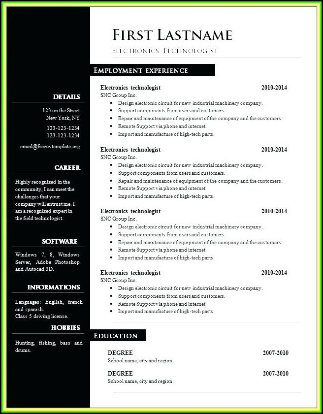 Resume Template Free Word 2017