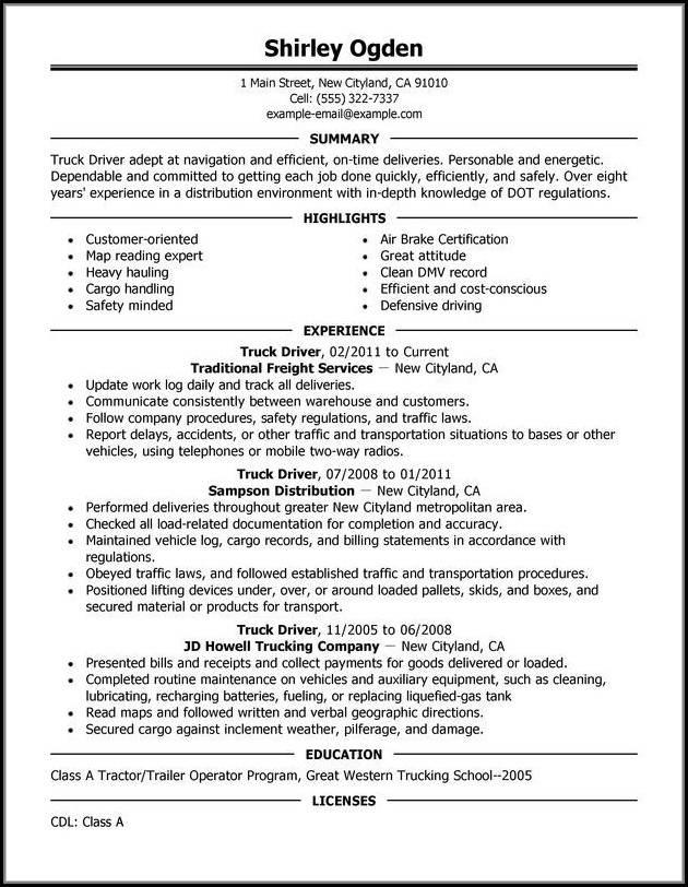 Resumes For Truck Drivers