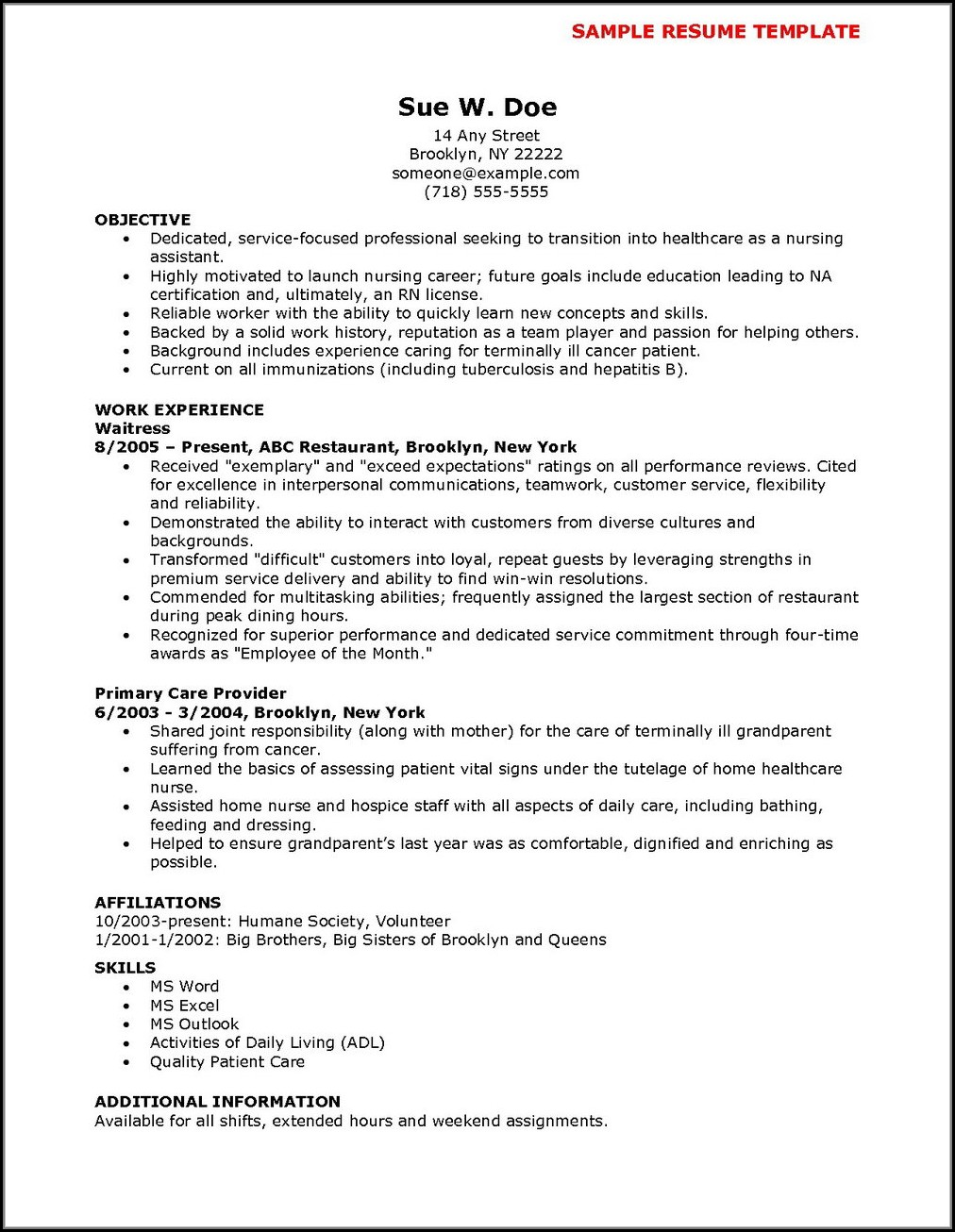 Sample Resume For Experienced Nursing Assistant