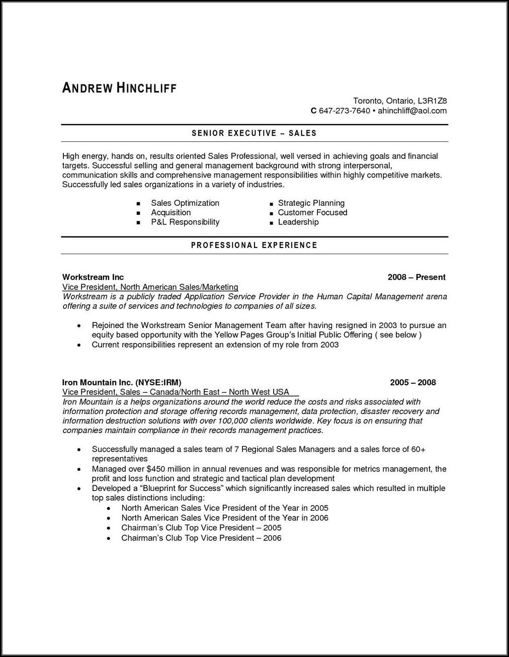 Sample Resume For Jobs In Usa