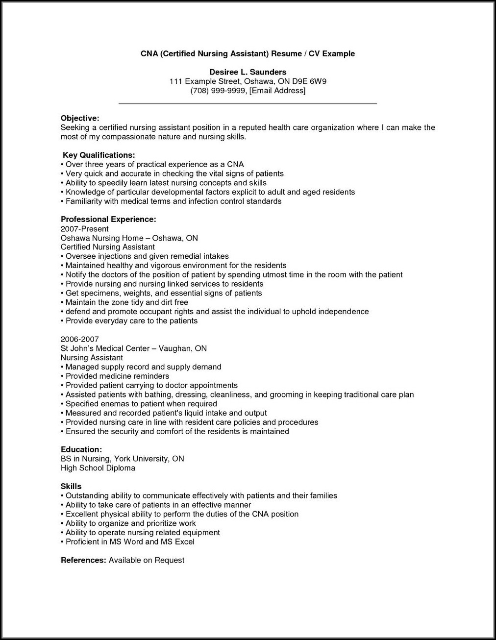 Sample Resume For Nursing Assistant With Experience