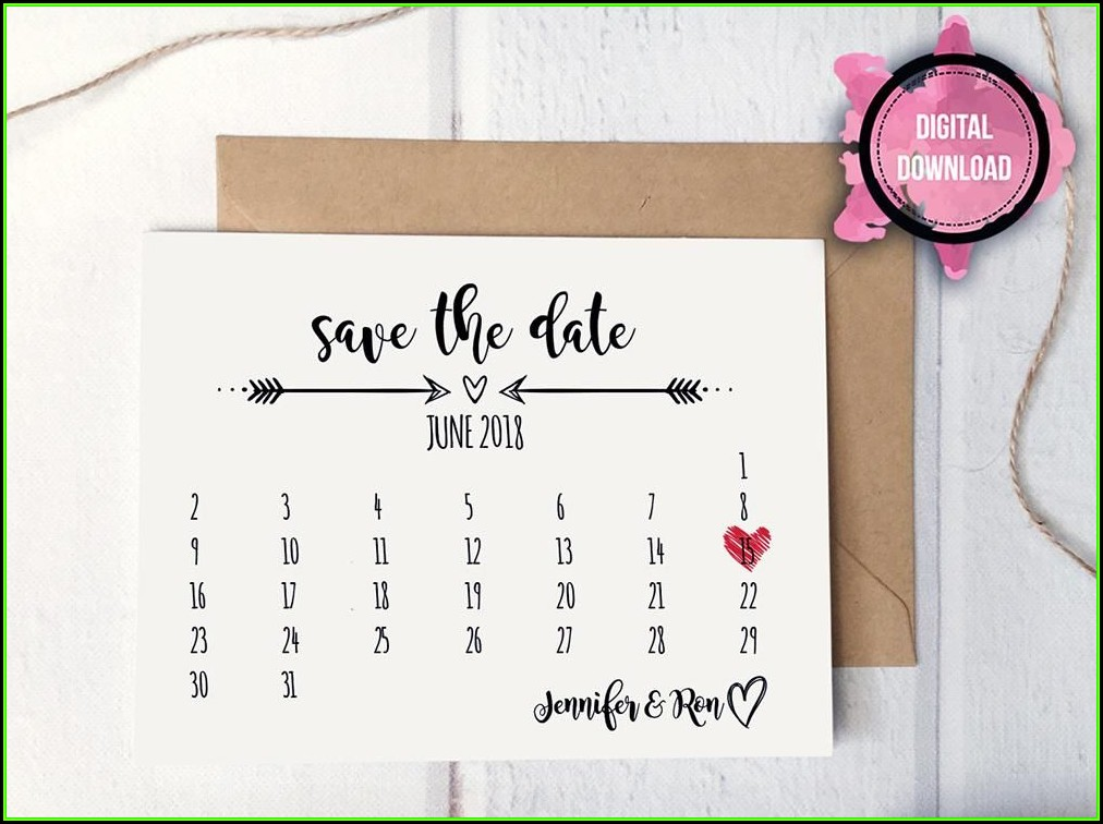 Save The Date Calendar Card Template