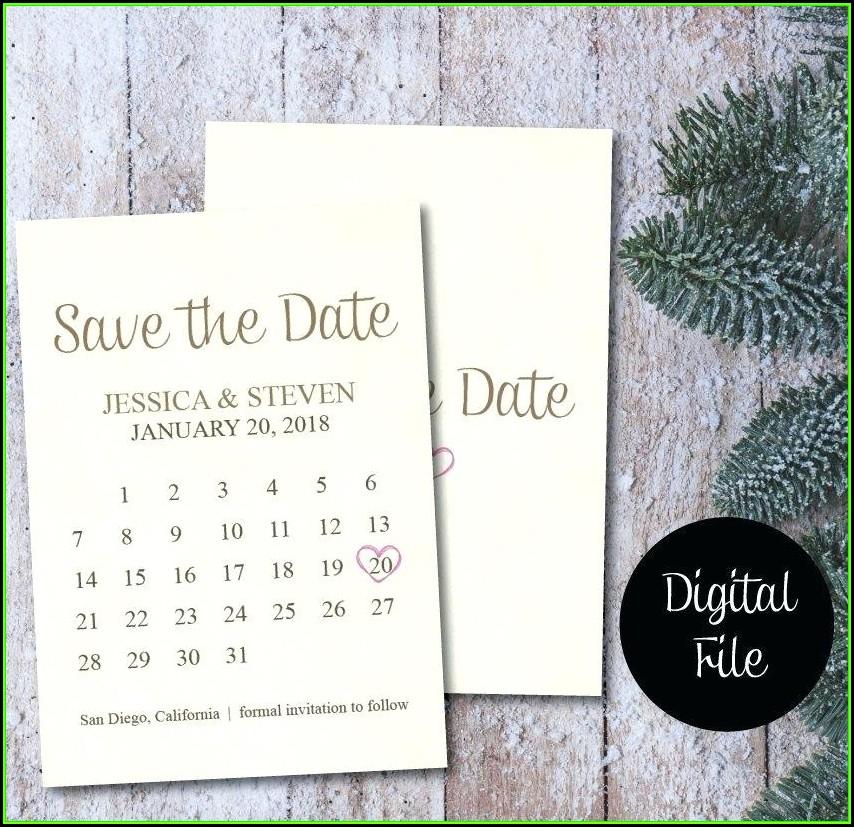 Save The Date Calendar Template 2018