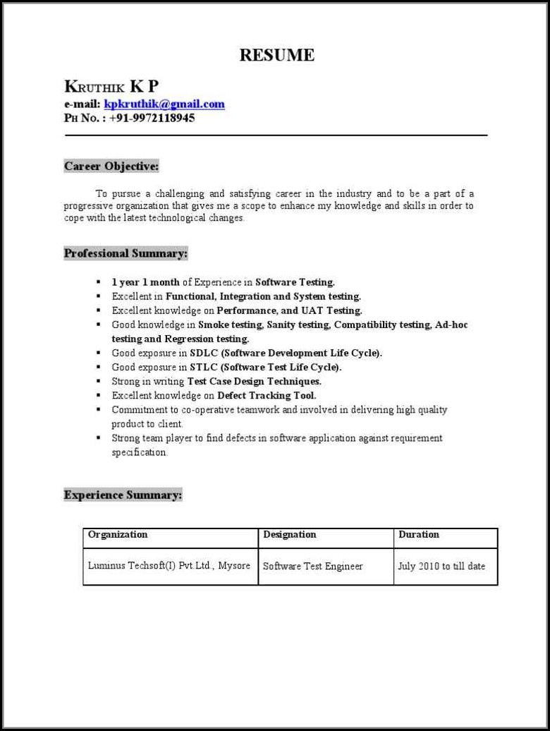 Selenium Automation Test Engineer Resume