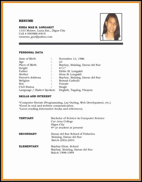 Simple Job Resume Format Pdf