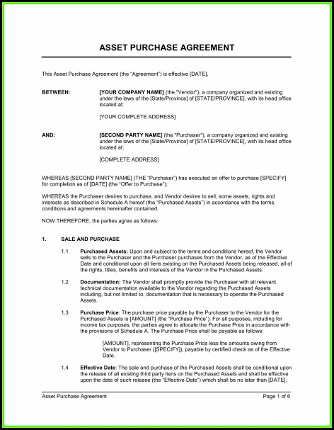Simple Purchase Agreement Template Word