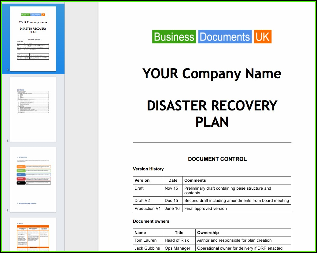 Small Business Continuity And Disaster Recovery Plan Template