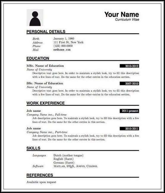 Soft Copy Of Resume Format
