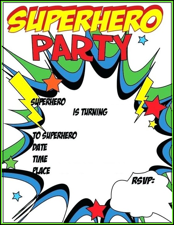 Superhero Party Invitation Template Free