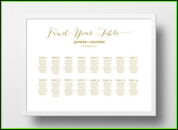Table Seating Chart Template Poster