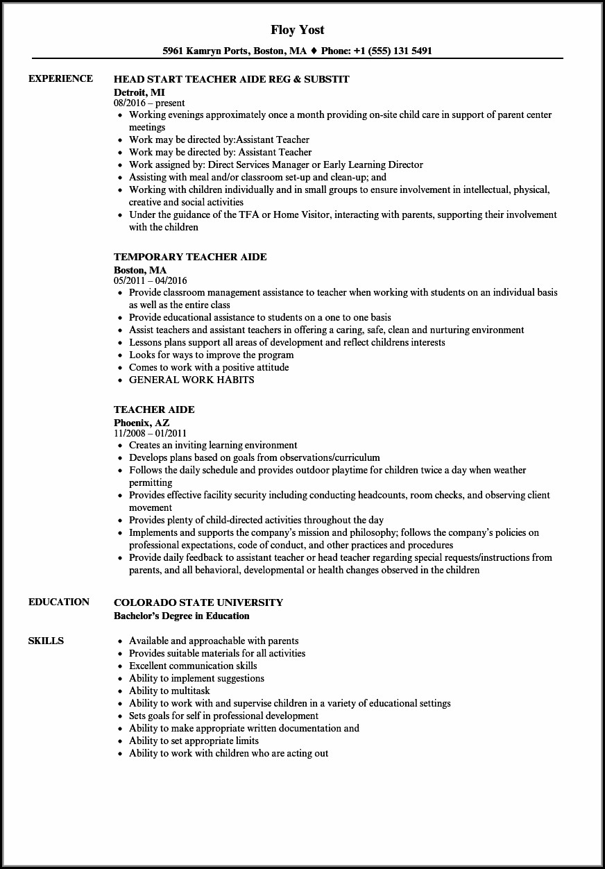 Teachers Aide Resume Templates