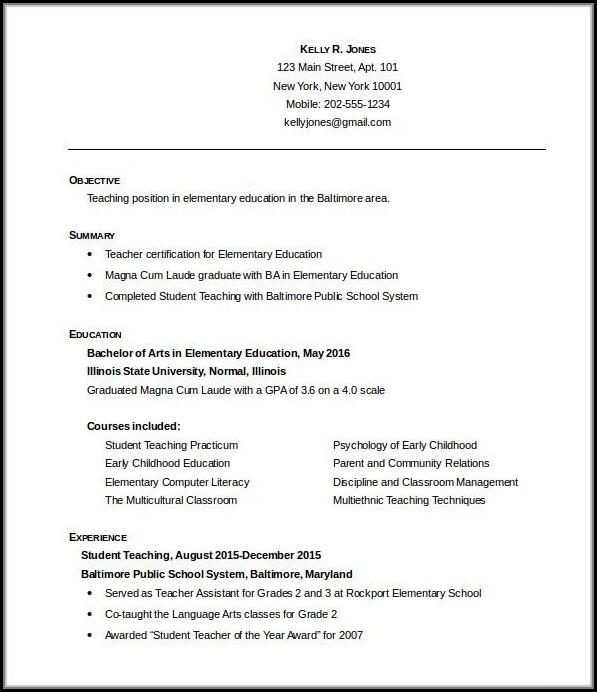 Teaching Resume Templates Free