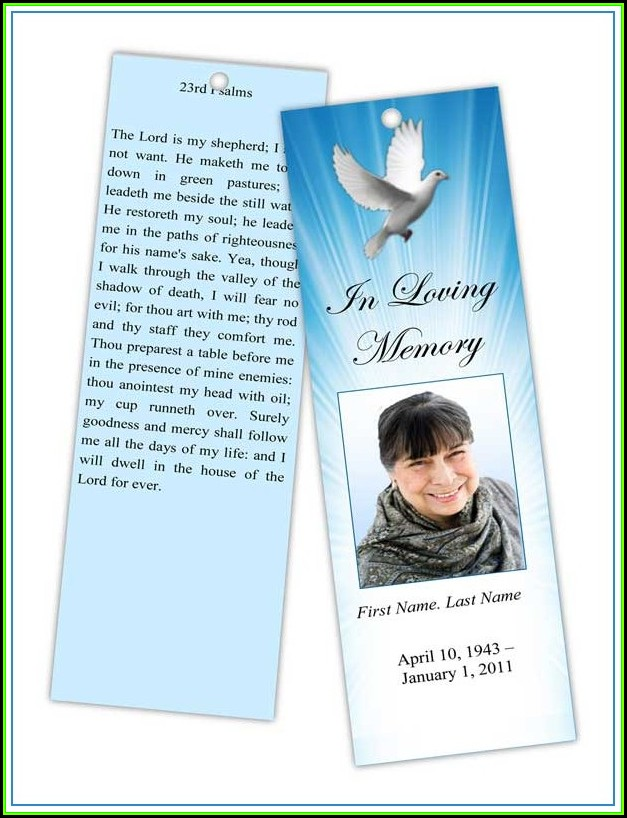 Template For Obituary Bookmark