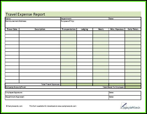 Travel Expense Report Form Free