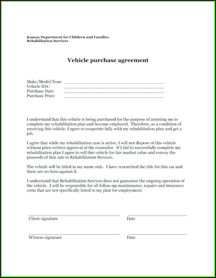 Vehicle Purchase Agreement Template Word