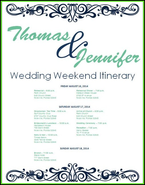 Wedding Weekend Itinerary Template Download