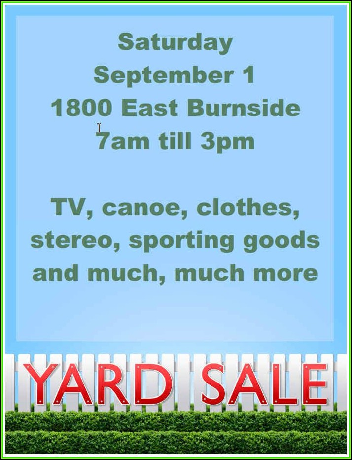 Yard Sale Signs Templates Free