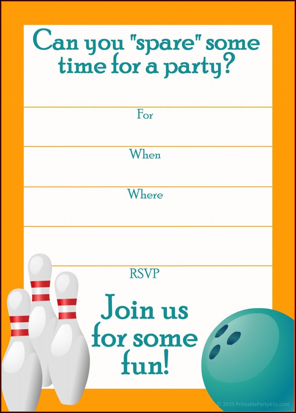 Bowling Birthday Invitation Templates