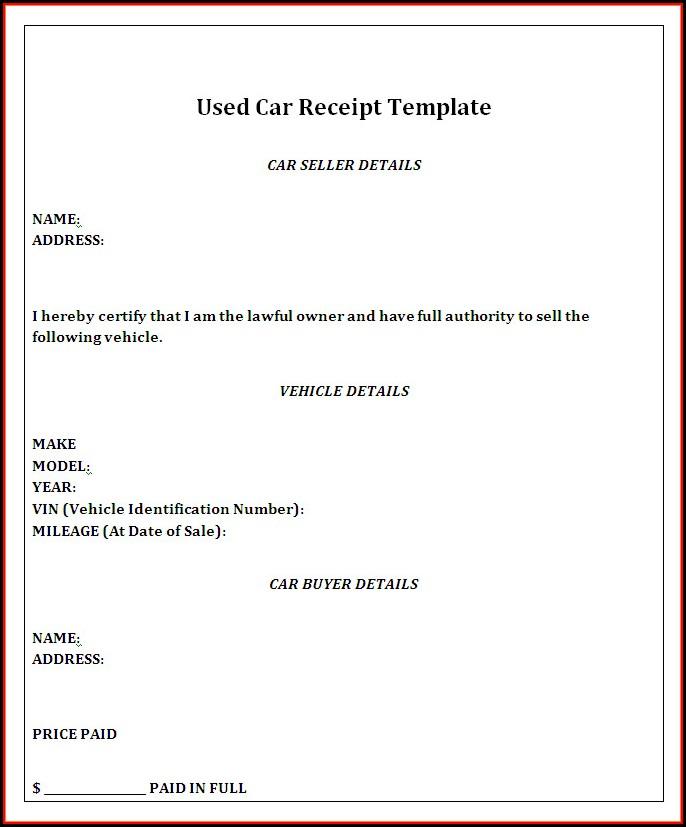 Car Sale Receipt Template Qld