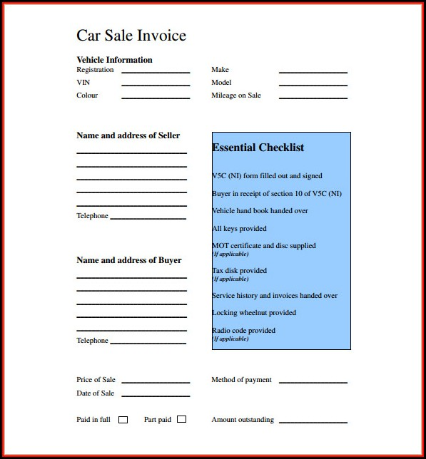 Car Sale Receipt Template Uk
