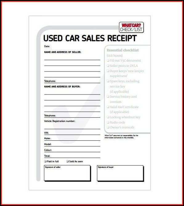Car Sale Receipt Template Word
