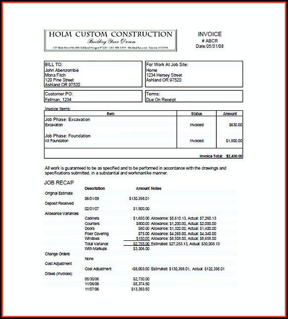 Construction Invoice Sample