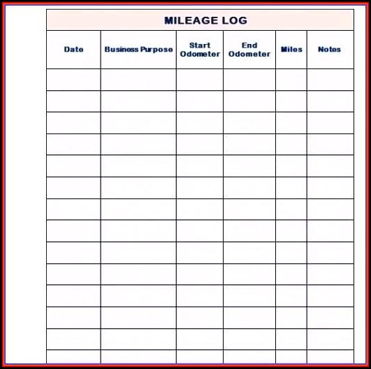 Cra Mileage Log Book Template