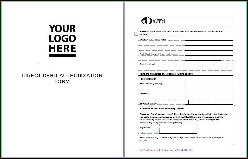 Direct Debit Form Template Free