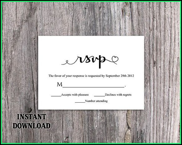Diy Rsvp Wedding Cards Template