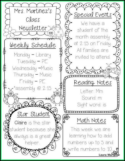 Editable Newsletter Template For Teachers