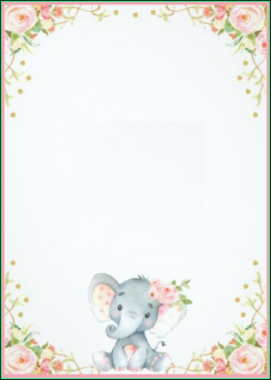 Elephant Birthday Invitation Template
