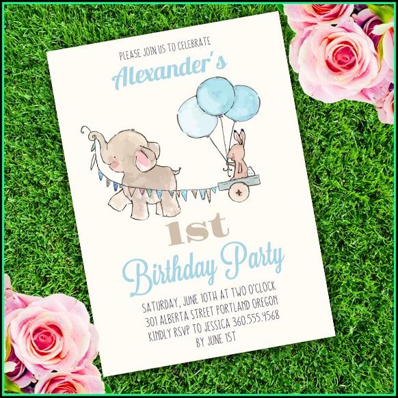 Elephant Birthday Party Invitation Template