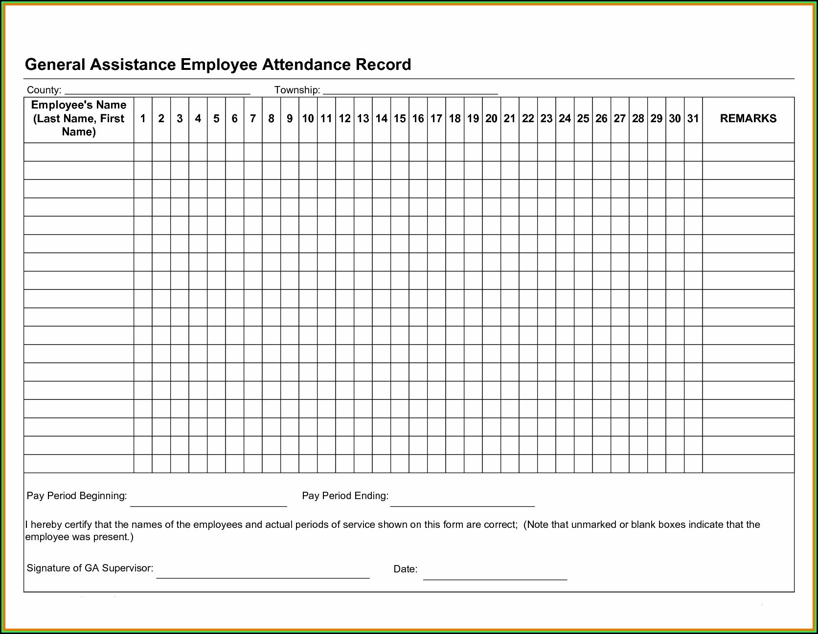 Employee Attendance Tracker Ms Excel Template