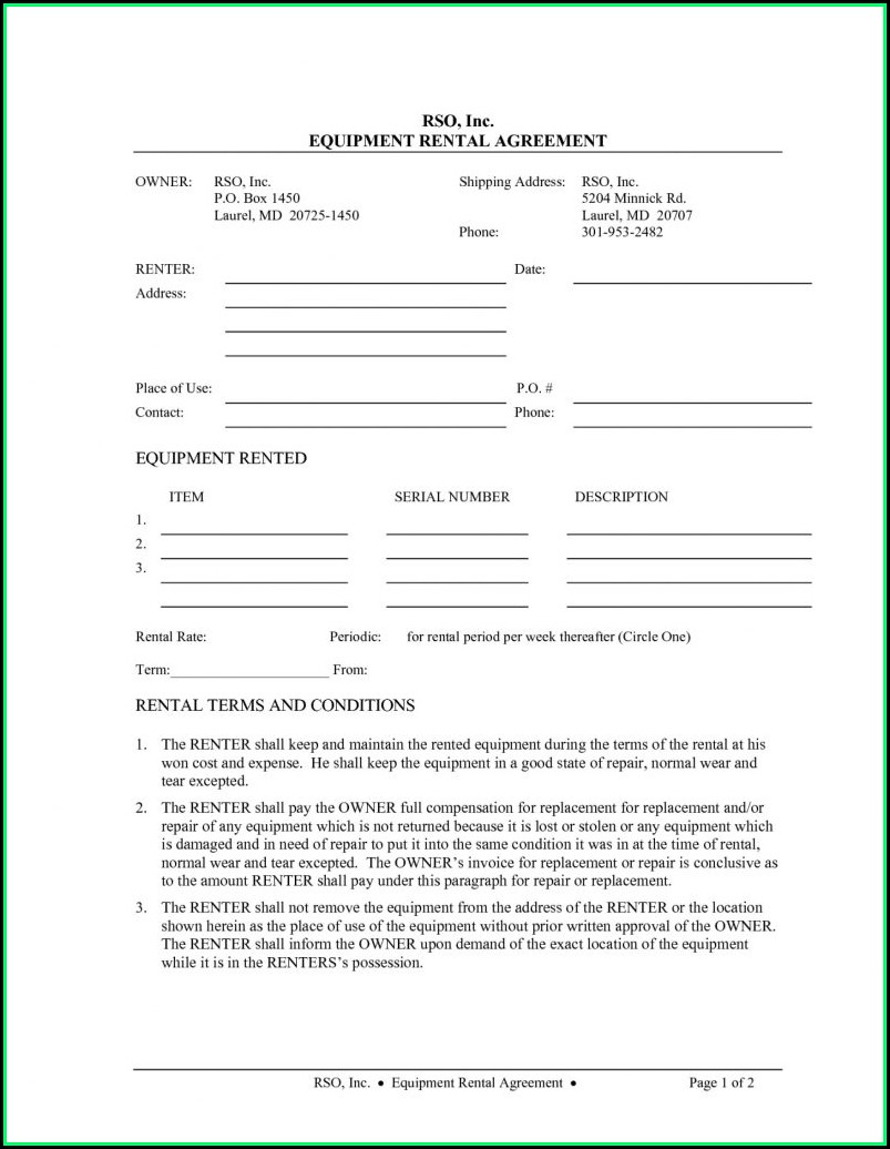 Equipment Rental Agreement Template Canada