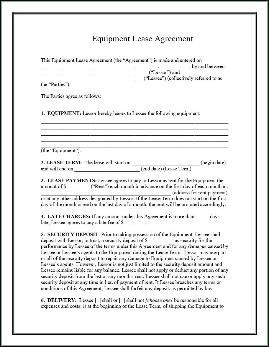 Equipment Rental Agreement Template Doc