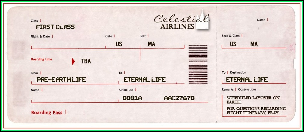 Fake Air Ticket Template