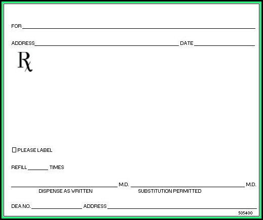 Fake Blank Prescription Template