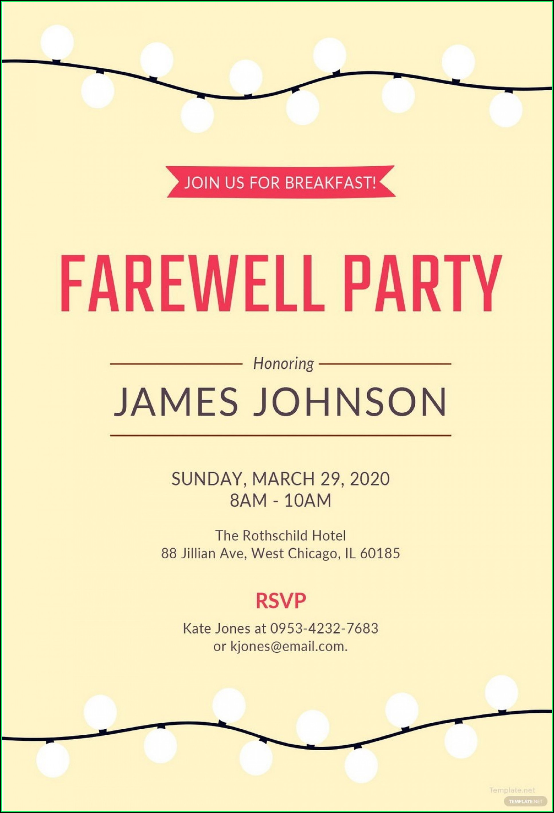 Farewell Party Invitation Card Template Free