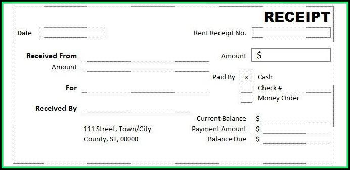 Free Cash Receipt Template Excel