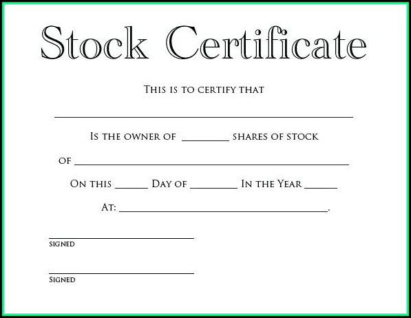 Free Company Share Certificate Template South Africa