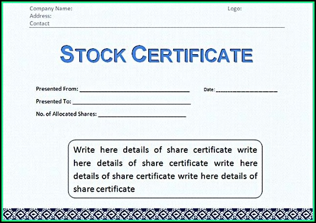 Free Corporate Stock Certificate Template Word