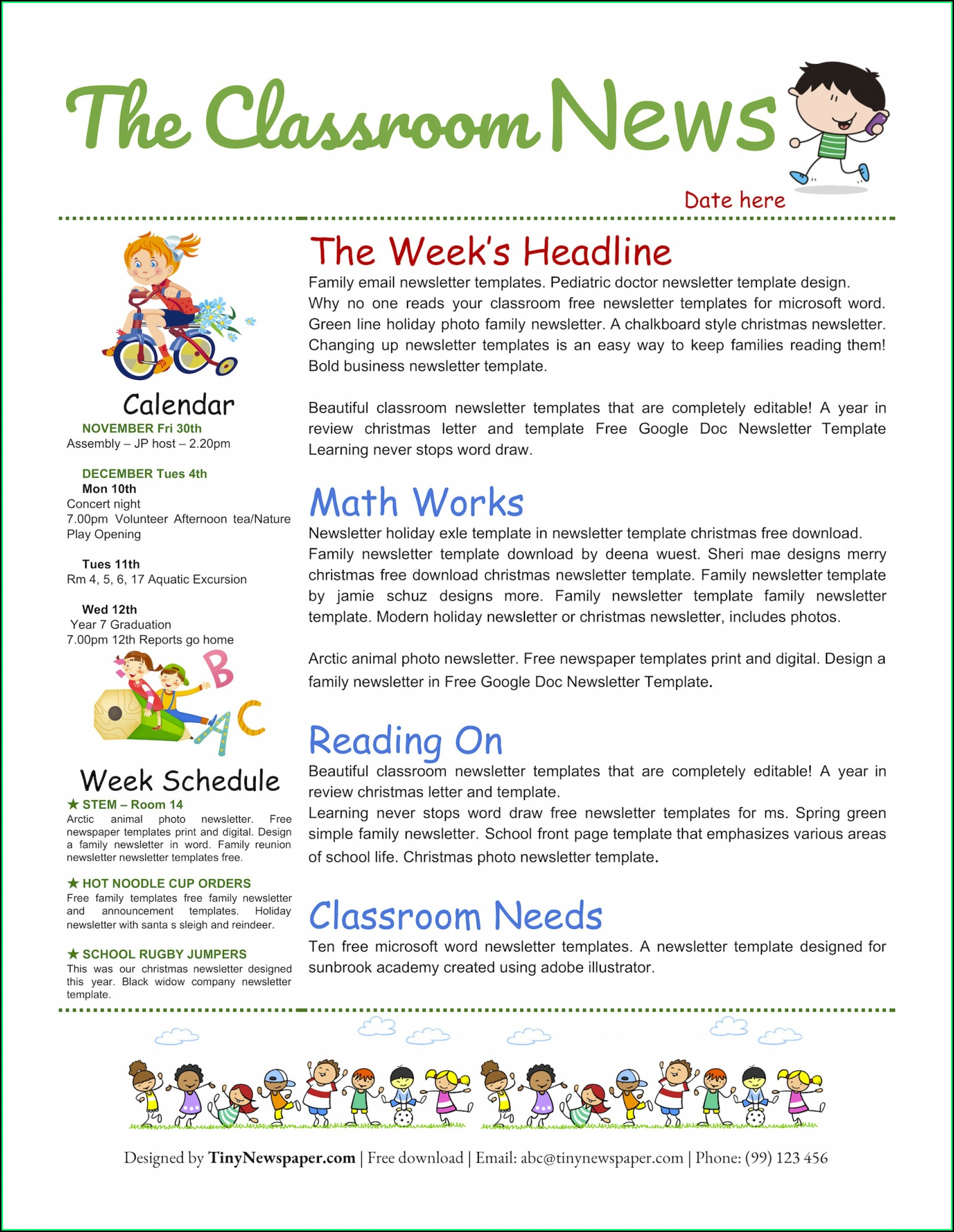 Free Downloadable Classroom Newsletter Templates