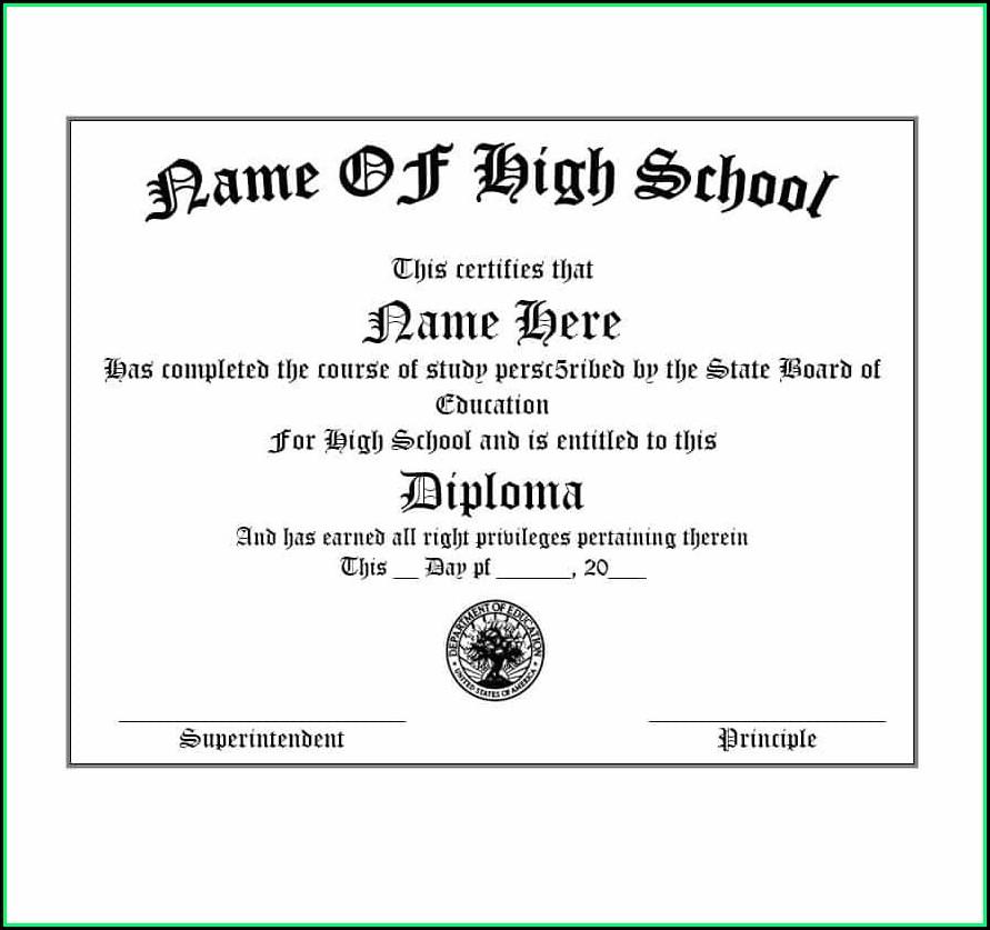 Free Fake High School Diploma Templates