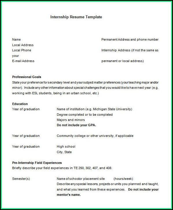 Free Internship Resume Template